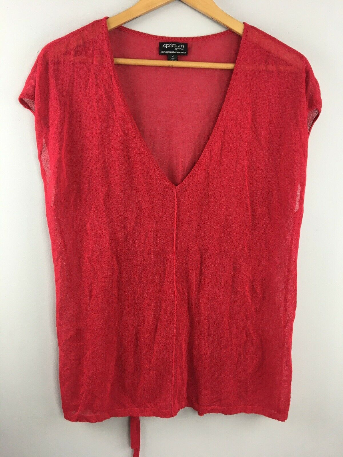 Primary image for Optimum Knitwear Top M Medium Red Sleeveless Shirt Merino Wool New Zealand KK54