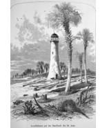 FLORIDA Lighthouse on St. John River - 1883 German Print - $21.60