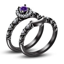 Round Cut Amethyst 925 Silver 14k Black Rhodium Finish Bridal Wedding Ring Set - $96.10