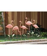 "PINK FLAMINGOS GARDEN STAKE Flock Strutting Among Cattails Metal 28"" high  - $73.85"