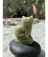 Antique Chinese Fine Soapstone Cat Whistle Figurine Carved Green Polishe... - $39.26