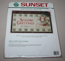 Santa Claus Greetings Banner Kit Sunset Antiqued Quilts Christmas Decor ... - $16.78