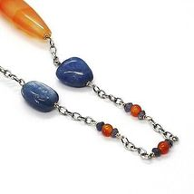 SILVER 925 NECKLACE, AGATE ORANGE, KYANITE BLUE, AMBER, LONG 80 CM, CHAIN ROLO' image 4