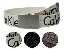 New Calvin Klein Men's Premium CK Logo Cotton Adjustable 38mm Canvas Belt 73545