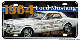 1964 Ford Mustang Indy 500 Pace Car Aluminum License Plate - $13.81