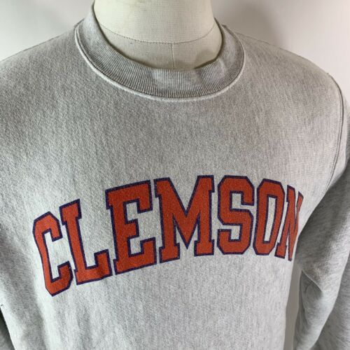 Vintage Champion Reverse Weave Clemson Tigers Crewneck Sweatshirt Heather Gray M image 2