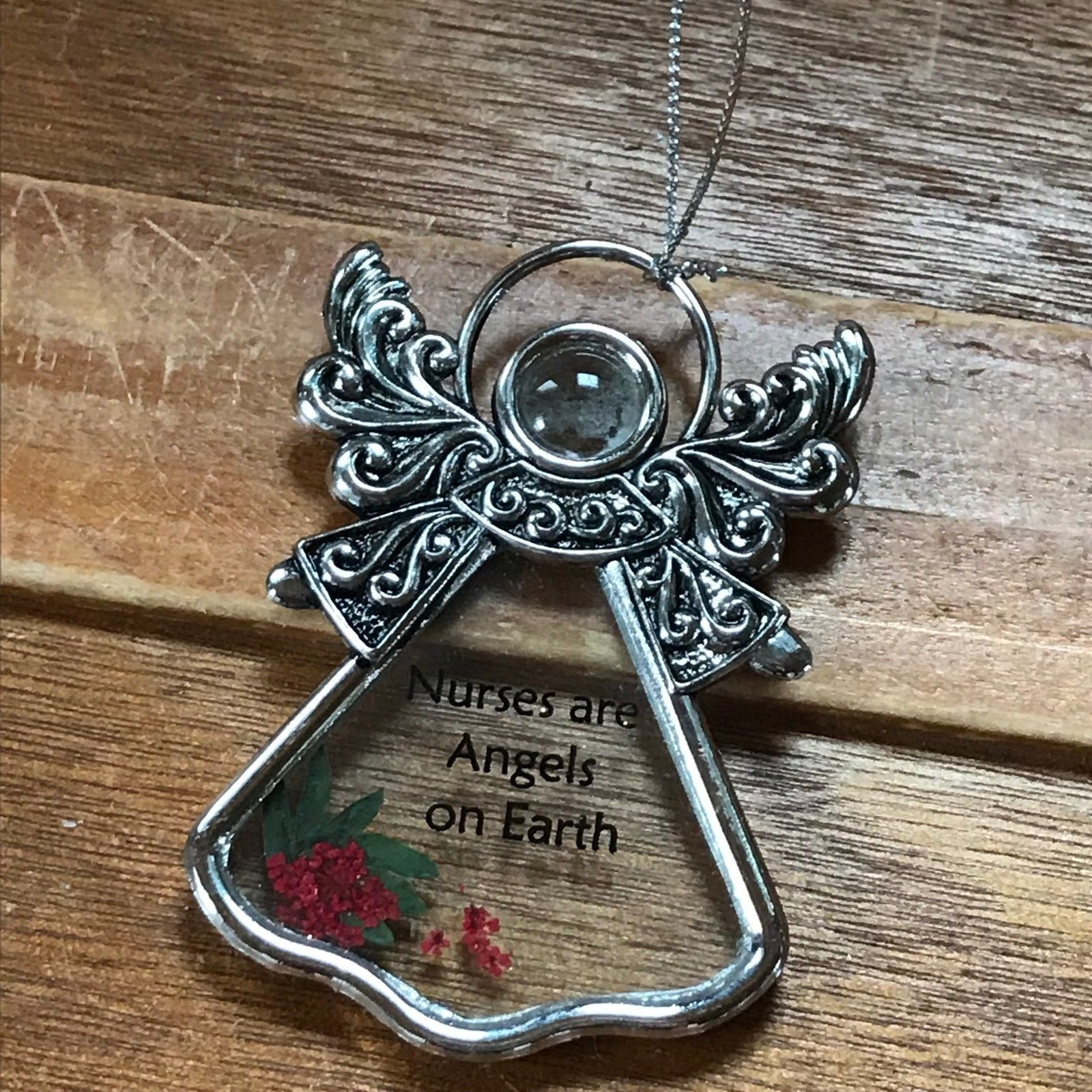 Ornate Silvertone & Glass w Small Red Flower Angel NURSES ARE ANGELS ON EARTH Ch