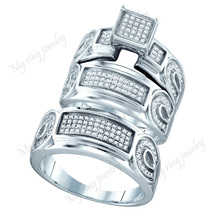14k White Gold Fn White Sim Diamond Engagement Wedding Trio Ring Set - $189.98