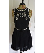 Free People Dress 0 Birds of a Feather Mini Black Cotton OB483603 Embroy... - $59.95