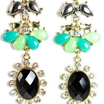 "Mode Mint Green & Black Lucite Bead 2.5"" Drop Post Dangle Earrings New with Tag image 4"
