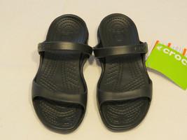 Crocs Cleo Schwarz Bequeme Passform Sandalen Damen W 7 Croslite Stoff Nwt - $27.61