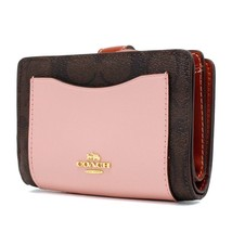 COACH 87589 Colorblock Signature BROWN Blush Pink Corner Zip Leather Wal... - $71.78