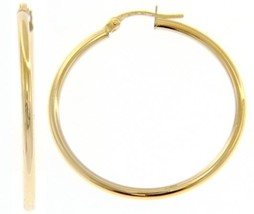 18K YELLOW GOLD ROUND CIRCLE EARRINGS DIAMETER 30 MM, WIDTH 2 MM, MADE IN ITALY image 1