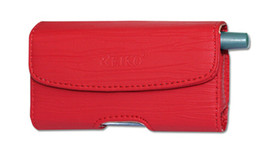 Red Leather Belt Loop Case Horizontal fits Alcatel Quick Flip phone - $14.84