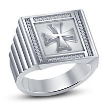 White Gold Plated 925 Sterling Silver Round Cut Diamond Biker Cross Men's Ring - $97.55