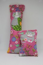 100% CatNip Filled Cat Pillow Toy Bundle Garden Cats on Pink - $11.99