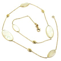 """18K YELLOW GOLD NECKLACE, OVAL MOTHER OF PEARL ALTERNATE OVALS, 17.3"""", 44cm image 1"""