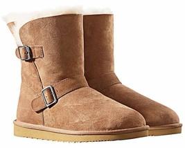 Kirkland Signature Ladies Chestnut Brown Sheepskin Shearling Winter Buckle Boot