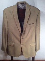 VAN HEUSEN 48R Blazer Sport Coat Big Tall Khaki Tan 2 Button Italy Lined - $93.24