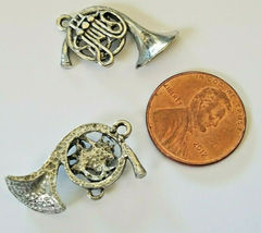 FRENCH HORN FINE PEWTER CHARM PENDANT - 19mm L x 22mm W x 4mm D image 3