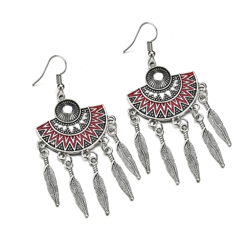 BAHYHAQ - Vintage Tassel Feather Sector Drop Earring Ethnic Jewelry Wholesale