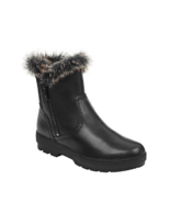 NEW EASY SPIRIT BLACK LEATHER FUR WEDGE COMFORT BOOTS SIZE 8 W WIDE $129 - $69.99