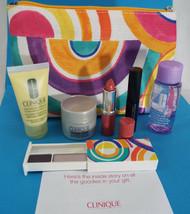 Clinique 7 Piece Compact, Matte Beauty Lip, Mascara, Lotion, Bag, Remover, Smart - $20.26