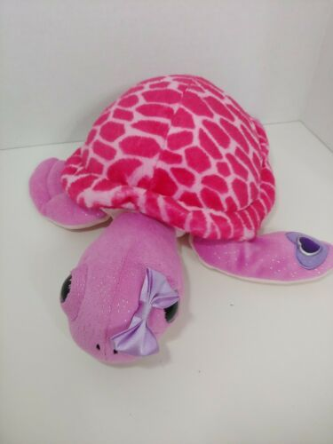 Primary image for The Petting ZOO Sea Turtle pink purple plush bow on head big eyes jewel heart