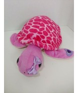 The Petting ZOO Sea Turtle pink purple plush bow on head big eyes jewel ... - $19.79