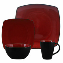 Gibson Elite Soho Lounge Square 16-Piece Dinnerware Set, Red - $77.17