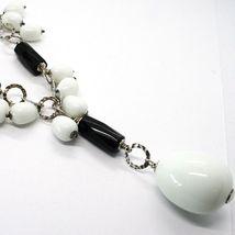 Collier Argent 925, Onyx Noir , Agate Blanc Goutte, Chute Pendentif image 4