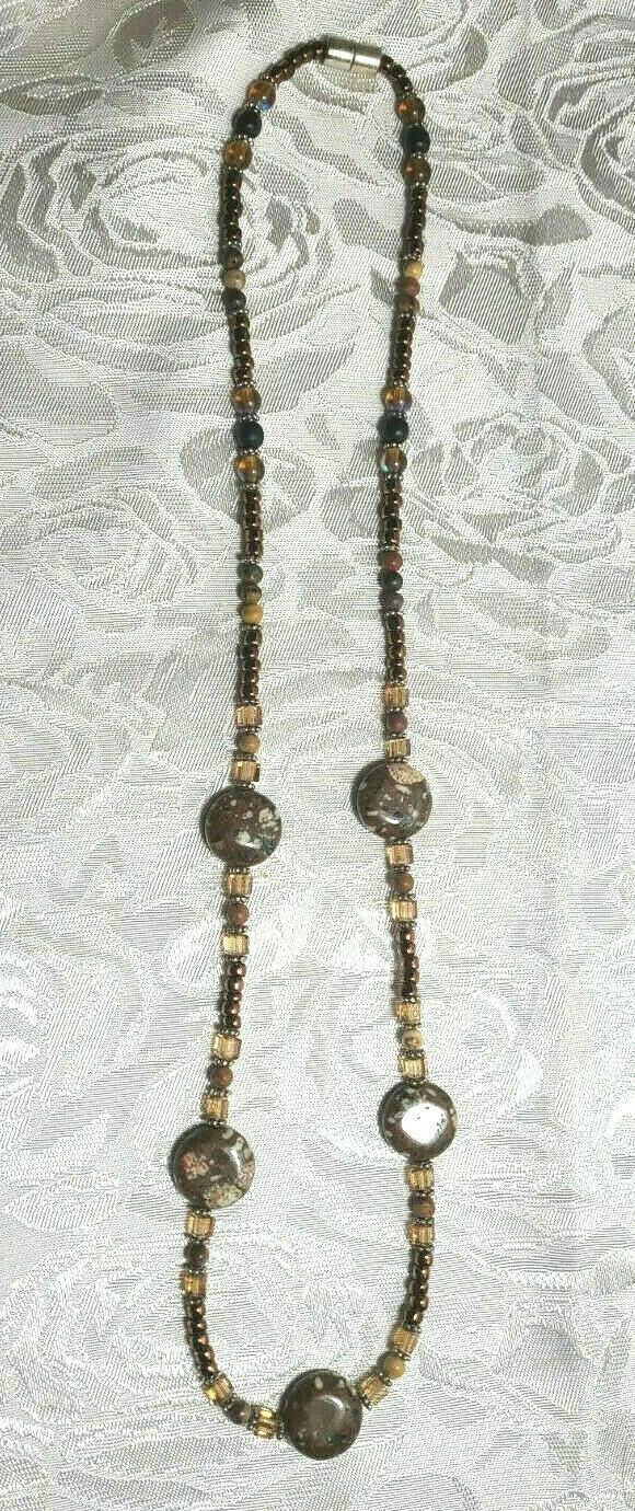 "Shades of Brown Agate and Seed Beaded Necklace 24.5""  (#20)"