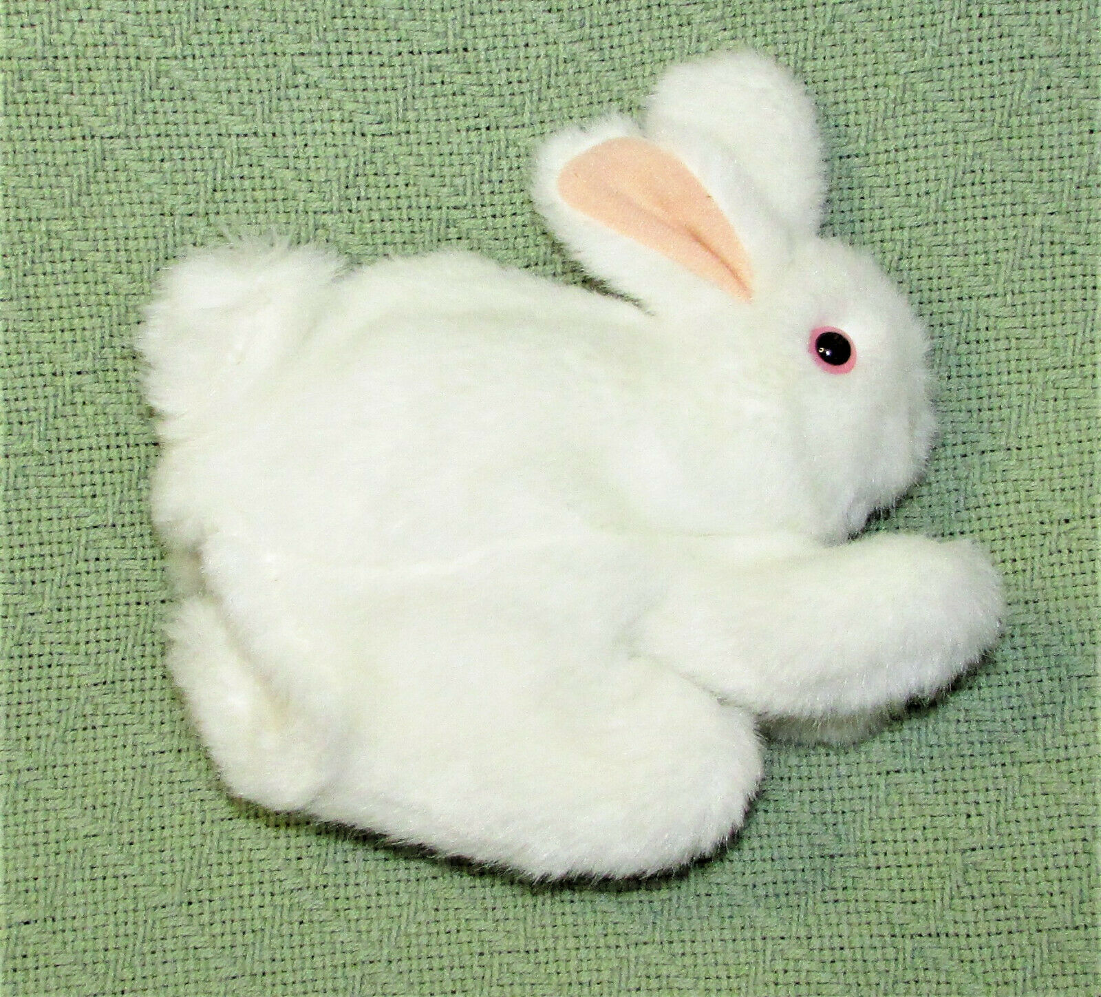 "Primary image for FOLKMANIS WHITE BUNNY Hand PUPPET Plush RABBIT Pink Eyes 7"" Long Animal Toy"