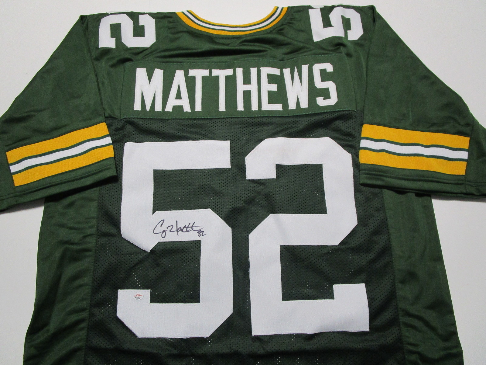 CLAY MATTHEWS / AUTOGRAPHED GREEN BAY PACKERS GREEN CUSTOM JERSEY / COA