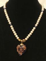 """vintage pearl necklaces glass pendant 16"""" Long - $9.90"""