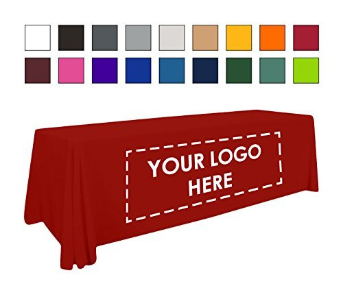 Personalized Add Your Own Logo Custom Tablecloth 8' Red Table Cover - Table Thro