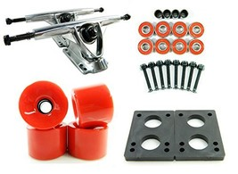 180mm Polished Trucks 70mm Wheels Combo Solid Red - $41.01