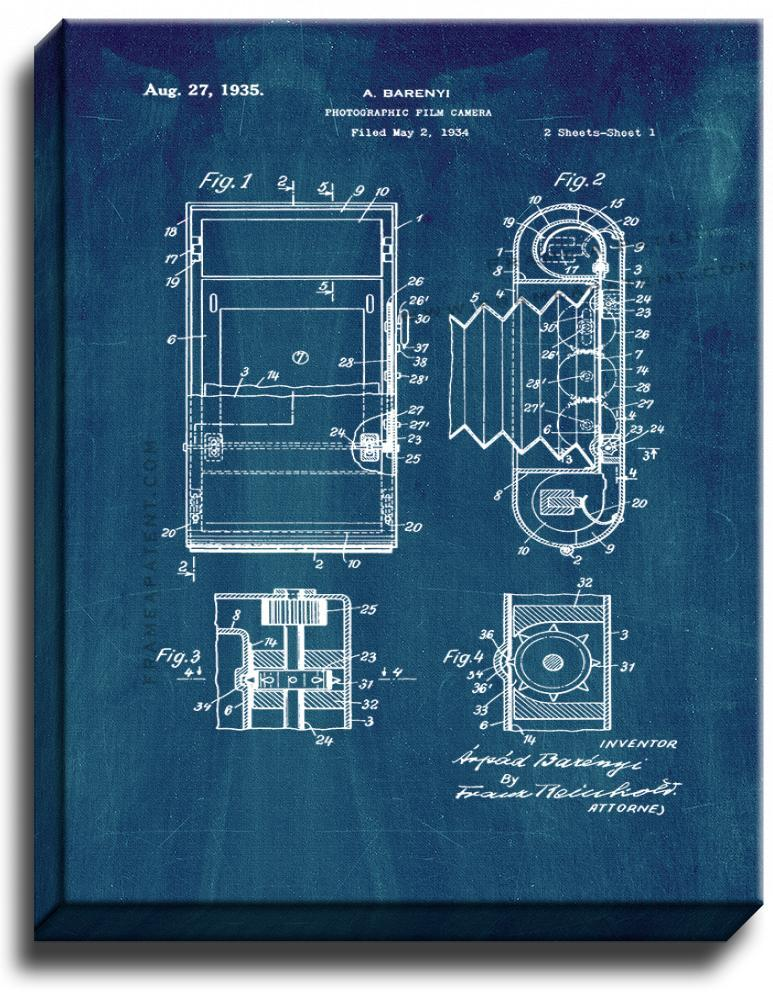 Primary image for Photographic Film Camera Patent Print Midnight Blue on Canvas