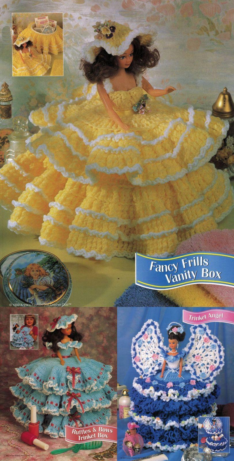 "3X Barbie 11-1/2"" Doll Angel Frills & Ruffles & Bows Trinket Box Crochet Pattern image 8"
