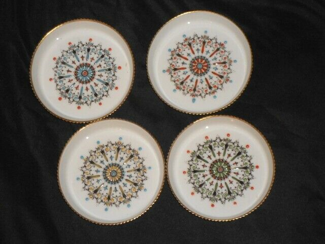 Lot of 4 Royal Worcester Beverage COASTERS Medallion Patterns