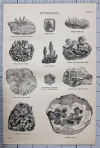 1868 PRINT MINERALS CRYSTALS COPPER GLAUCE MOSS AGATE RED COPPER CRYSTAL... - $50.81
