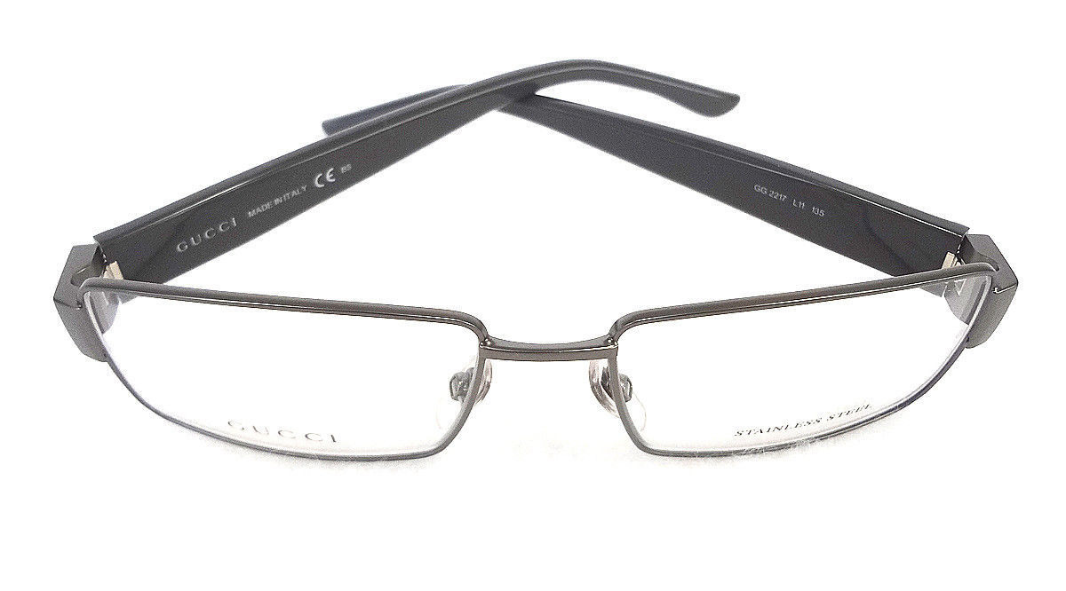 6ff729b776 GUCCI Men s Frame Glasses GG2217 DarkRuthenium Stainless Steel MADE IN ITALY -New