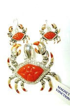 Crab Pendant Earring Set Magnetic Chesapeake Bay Crabs Red Orange Beach New - $14.52