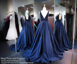 Navy Blue Sexy Deep V-Neck Prom Dresses A-Line Major Long Satin Party Gowns  - $198.99