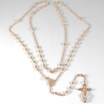 18K ROSE PINK GOLD ROSARY NECKLACE MIRACULOUS MARY MEDAL JESUS CROSS, 22 INCHES image 1