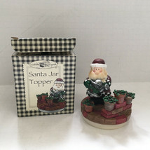 Santa Jar topper decorative top for candle jar Santa watering poinsetta ... - $12.87