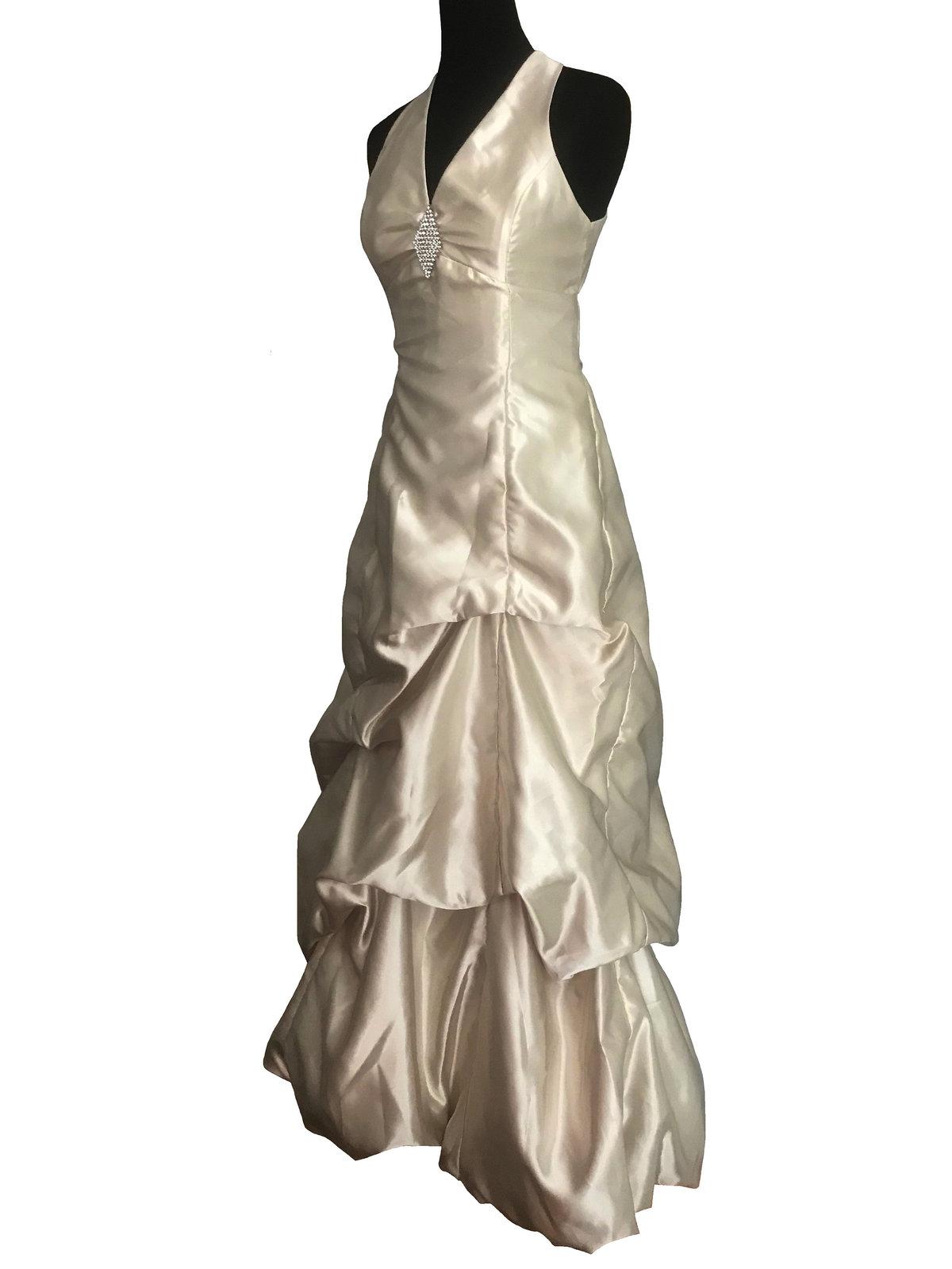 80s Jessica McClintock Gunne Sax Ivory Satin Rhinestone Pin Halter Low Back Gown