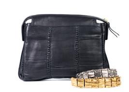 New~Roberto Cavalli Women's Black Leather Woven Shoulder Bag~RTL$3084~NWT - $679.73