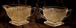 Diamond Shaped Sugar and Creamer Indiana Sandwich Glass vintage antique - $6.92