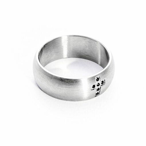 Steel Ring Satin with cross and Crystals Cesare Paciotti 4US 4UAN1412